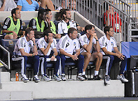 MLS All-Stars head coach Ben Olsen with staff. The MLS All Stars Team defeated Chelsea FC 3-2 at PPL Park Stadium, Wednesday 25, 2012.