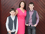 Conor Mooney from LeCheile school who was confirmed in St Mary's church pictured mam Shirley and brother Dylan. Photo:Colin Bell/pressphotos.ie