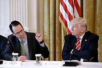 AT&amp;T Senior Executive Randall Stephenson (R) speaks as United States President Donald J. Trump looks on during the American Leadership in Emerging Technology Event in the East Room of the White House in Washington, DC, on June 22, 2017. <br /> Credit: Olivier Douliery / Pool via CNP /MediaPunch
