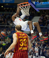 Real Madrid´s Marcus Slaughter and Galatasaray´s Guler during 2014-15 Euroleague Basketball match between Real Madrid and Galatasaray at Palacio de los Deportes stadium in Madrid, Spain. January 08, 2015. (ALTERPHOTOS/Luis Fernandez) /NortePhoto /NortePhoto.com