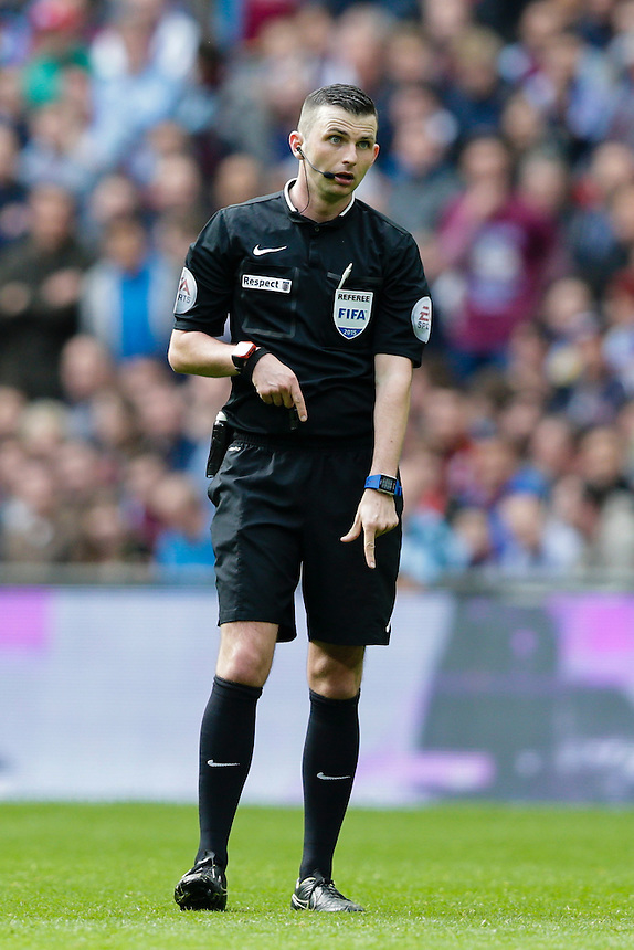 Referee Michael Oliver during today's match<br /> <br /> Photographer Craig Mercer/CameraSport<br /> <br /> Football - The FA Cup Semi-Final - Aston Villa v Liverpool - Sunday 19th April 2015 - Wembley - London<br /> <br /> &copy; CameraSport - 43 Linden Ave. Countesthorpe. Leicester. England. LE8 5PG - Tel: +44 (0) 116 277 4147 - admin@camerasport.com - www.camerasport.com