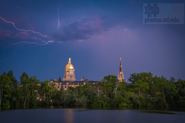 July 2, 2017; Lightning over campus skyline. (Photo by Matt Cashore/University of Notre Dame)
