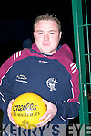Head and shoulders of Aidan Kelly, Captain of the Duagh Senior Football Team at the ITT all weather pitch while he and the team were in training on Tuesday evening..
