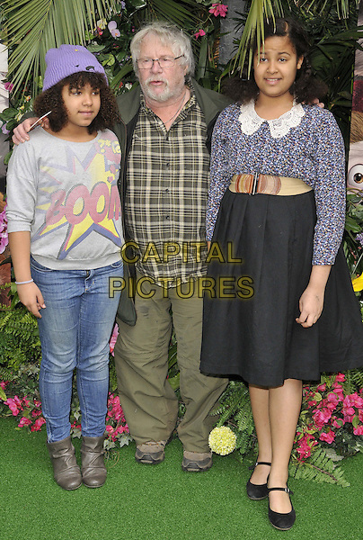 LONDON, ENGLAND - MARCH 30: Bill Oddie &amp; his granddaughters attend the &quot;Rio 2&quot; VIP film screening, Vue West End cinema, Leicester Square, on Sunday March 30, 2014 in London, England, UK.<br /> CAP/CAN<br /> &copy;Can Nguyen/Capital Pictures