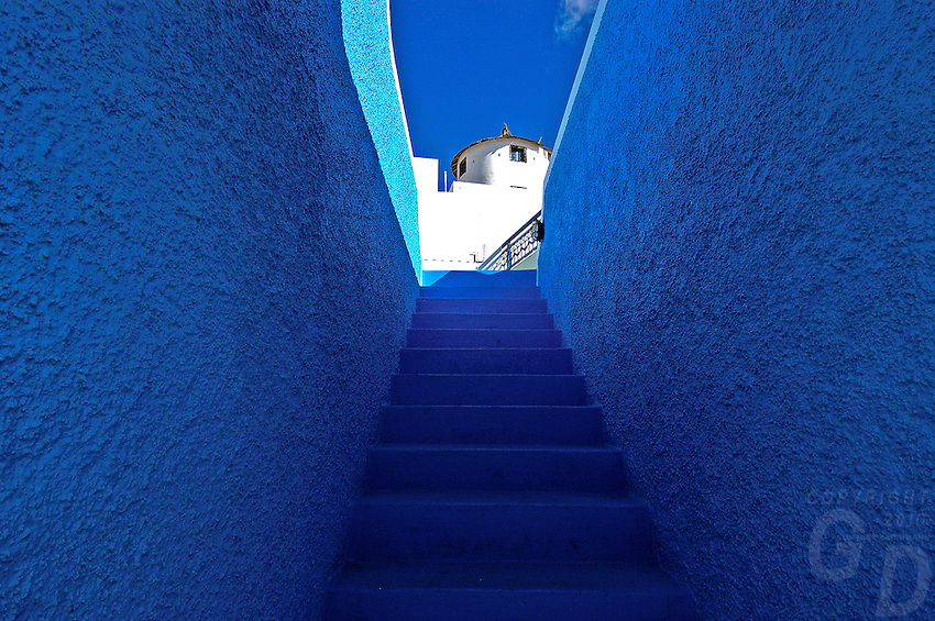 The blue stairway in Santorini, Greece
