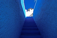 The blue stairway in Santorini, Greece