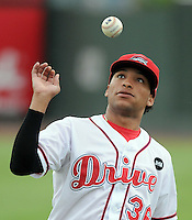 August 27, 2009: Pitcher Felix Ventura (36) of the Greenville Drive plays a game of pepper with teammates during a rain delay Fluor Field at the West End in Greenville, S.C. Photo by: Tom Priddy/Four Seam Images