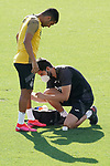 Getafe's Angel Rodriguez injured during training session. August 3,2020.(ALTERPHOTOS/Acero)