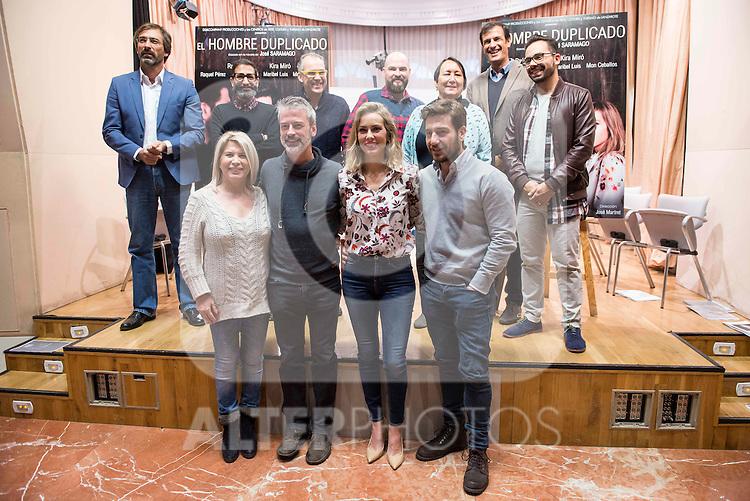 "Maribel Luis, Sergio Otegui, Kira Miro and Raul Tejon during the presentation of the theater play ""El Hombre Duplicado"" , based in the book of Jose Saramago at SGAE in Madrid, Spain. December 12, 2016. (ALTERPHOTOS/BorjaB.Hojas)"