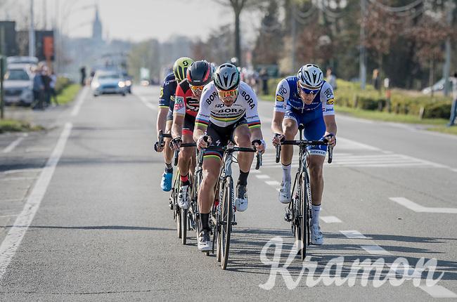 Peter Sagan (SVK/Bora-Hansgrohe) & Niki Terpstra (NED/Quick-Step Floors) in teh last 15 kilometers of the race<br /> <br /> 79th Gent-Wevelgem 2017 (1.UWT)<br /> 1day race: Deinze › Wevelgem - BEL (249km)