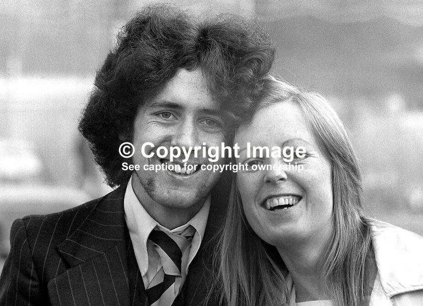 Patrick McCune, who has been acquitted of the murder of two policemen at Finaghy Crossroads, Belfast, N Ireland. He is pictured with his fiancee, Oonagh O'Connor. 197502270165<br />