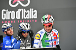 Italian Champion Elia Viviani (ITA) and Deceuninck-Quick Step at sign on before a wet Stage 2 of the 2019 Giro d'Italia, running 205km from Bologna to Fucecchio, Italy. 12th May 2019<br /> Picture: Massimo Paolone/LaPresse | Cyclefile<br /> <br /> All photos usage must carry mandatory copyright credit (© Cyclefile | Massimo Paolone/LaPresse)