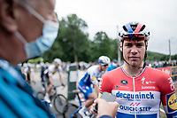 Fabio Jakobsen (NED/Deceuninck - QuickStep) interviewed at the start of the inaugural GP Vermarc 2020, which is the very first pro cycling race in Belgium after the covid19 lockdown of Spring 2020 & which was only set up some weeks in advance to accommodate belgian teams by providing racing opportunities asap after the lockdown allowed for racing to restart (but still under strict quarantine / social distancing measures for the public, riders & press)<br /> <br /> Rotselaar (BEL), 5 july 2020<br /> ©kramon