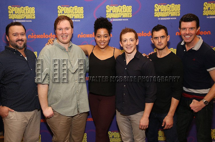 Brian Ray Norris, Danny Skinner, Lilli Cooper, Ethan Slater, Wesley Taylor and Gavin Lee during the Rehearsal Press Preview of the New Broadway  Musical on 'SpongeBob SquarePants'  on October 11, 2017 at the Duke 42nd Street Studios in New York City.