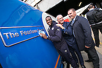 'The Fearless Foxes' train was named by Leicester City FC Captain Wes Morgan and manager Claudio Ranieri. Also pictured is Eddie Cocker (right) of East Midlands Trains