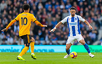 Brighton &amp; Hove Albion's Beram Kayal (right) under pressure from Wolverhampton Wanderers' Helder Costa (left) <br /> <br /> Photographer David Horton/CameraSport<br /> <br /> The Premier League - Brighton and Hove Albion v Wolverhampton Wanderers - Saturday 27th October 2018 - The Amex Stadium - Brighton<br /> <br /> World Copyright &copy; 2018 CameraSport. All rights reserved. 43 Linden Ave. Countesthorpe. Leicester. England. LE8 5PG - Tel: +44 (0) 116 277 4147 - admin@camerasport.com - www.camerasport.com