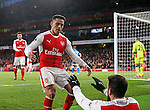 Arsenal's Alexis Sanchez celebrates scoring his sides third goal with Olivier Giroud during the Premier League match at the Emirates Stadium, London. Picture date October 26th, 2016 Pic David Klein/Sportimage
