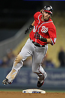Washington Nationals outfielder Jayson Werth #28 runs the bases against the Los Angeles Dodgers at Dodger Stadium on July 23, 2011 in Los Angeles,California. Los Angeles defeated Washington 7-6.(Larry Goren/Four Seam Images)