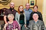 Wedding Anniversary : Peg & Joe Heffernan, Listowel, front, celebrating their 54th wedding anniversary awith family at the Listowek Arms Hotel on Saturday night last.Back ; Kevin, Jessica, Robert & Breda Heffernan