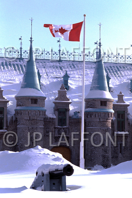 Quebec, Canada, March 1978. Daily life in Quebec. The Frontenac Castle, one of the main monuments of Quebec City.