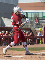 NWA Democrat-Gazette/BEN GOFF @NWABENGOFF<br /> Katie Warrick, Arkansas right fielder, hits a single in the 7th inning vs South Carolina Sunday, March 17, 2019, at Bogle Park in Fayetteville.