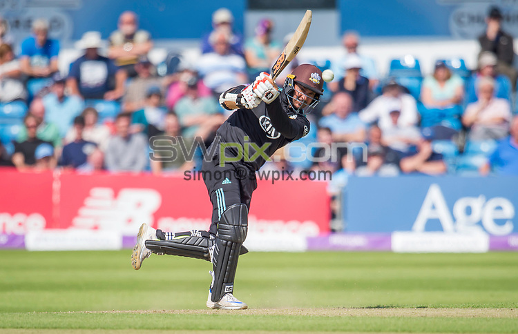 Picture by Allan McKenzie/SWpix.com - 13/06/2017 - Cricket - Royal London One-Day Cup - Yorkshire County Cricket Club v Surrey County Cricket Club - Headingley Cricket Ground, Leeds, England - Surrey's Kumar Sangakkara hits out as he heads towards a century against Yorkshire.