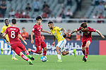 Jiangsu FC Forward Alex Teixeira (C) fights for the ball with Shanghai FC Defender Fu Huan (R) during the AFC Champions League 2017 Round of 16 match between Shanghai SIPG FC (CHN) vs Jiangsu FC (CHN) at the Shanghai Stadium on 24 May 2017 in Shanghai, China. Photo by Marcio Rodrigo Machado / Power Sport Images
