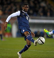 GENOVA, ITALY - February 29, 2012: Maurice Edu during the USA friendly match against Italy at the Stadium Luigi Ferraris in Genova, Italy.