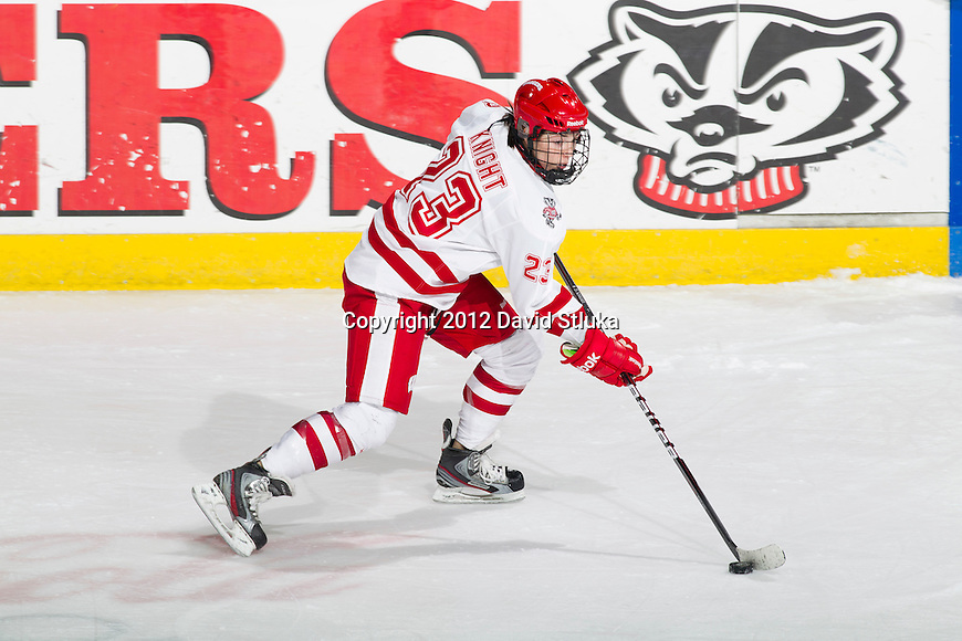 Wisconsin Badgers Hilary Knight (23) handles the puck during a WCHA Conference NCAA college women's hockey game against the Ohio State Buckeyes on Saturday, February 18, 2012 in Madison, Wisconsin. Ohio State won 4-2. (Photo by David Stluka)