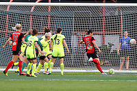Rochester, NY - Saturday July 09, 2016: Abby Erceg scores during a regular season National Women's Soccer League (NWSL) match between the Western New York Flash and the Seattle Reign FC at Frontier Field.