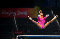 Aug. 7, 2008; Beijing, CHINA; Shawn Johnson (USA) performs on the uneven bars during womens gymnastics training prior to the Olympics at the National Indoor Stadium. Mandatory Credit: Mark J. Rebilas-