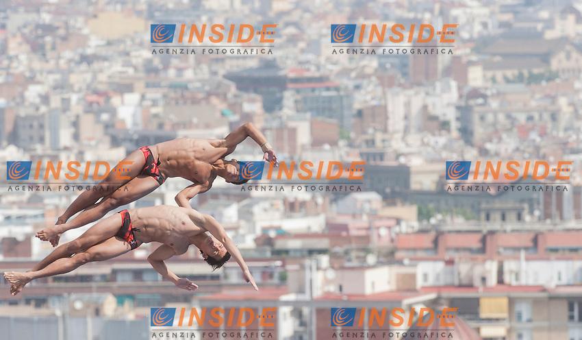 Cao Yuan and Zhang Yanquan CHN<br /> Men's 10m synchro platform preliminaries<br /> 15th FINA World Aquatics Championships<br /> Barcelona 19 July - 4 August 2013<br /> Piscina Municipal de Montjuic, Barcelona (Spain) 21/07/2013 <br /> &copy; Giorgio Perottino / Deepbluemedia.eu / Insidefoto
