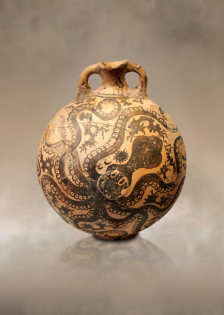 Minoan 2 handled flask with Marine style stylised octopus design,   Palaikastro,  1500-1450 BC; Heraklion Archaeological  Museum.