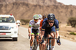The breakaway group featuring Conor Dunne (IRL) Aqua Blue Sport, Brian Van Goethem (NED) Roompot-Nederlandse Loterij, Maxime Farazijn (BEL) Sport Vlaanderen-Baloise and Pierre Luc Perichon (FRA) Fortuneo-Samsic during Stage 1 of the 2018 Tour of Oman running 162.5km from Nizwa to Sultan Qaboos University. 13th February 2018.<br /> Picture: ASO/Muscat Municipality/Kare Dehlie Thorstad | Cyclefile<br /> <br /> <br /> All photos usage must carry mandatory copyright credit (&copy; Cyclefile | ASO/Muscat Municipality/Kare Dehlie Thorstad)