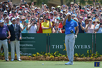 Tiger Woods (USA) acknowledges the roar of the crowd following his introduction on the first tee during round 1 of The Players Championship, TPC Sawgrass, at Ponte Vedra, Florida, USA. 5/10/2018.<br /> Picture: Golffile | Ken Murray<br /> <br /> <br /> All photo usage must carry mandatory copyright credit (&copy; Golffile | Ken Murray)