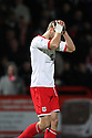 Ben May of Stevenage  holds his head in his hands after red card. - Stevenage v Tranmere Rovers - npower League 1 - Lamex Stadium, Stevenage - 17th December 2011  .© Kevin Coleman 2011 ... ....  ...  . .