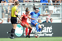 Boyds, MD - Saturday August 12, 2017: Mallory Pugh, Tiffany Weimer during a regular season National Women's Soccer League (NWSL) match between the Washington Spirit and The Boston Breakers at Maureen Hendricks Field, Maryland SoccerPlex.