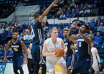 February 15, 2017:  Air Force center, Frank Toohey #33, is covered up under the basket during the NCAA basketball game between the University of Nevada Wolfpack and the Air Force Academy Falcons, Clune Arena, U.S. Air Force Academy, Colorado Springs, Colorado.  Nevada defeats Air Force 78-59.