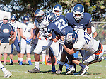 Palos Verdes, CA 09/24/16 - Zach Goodman (Chadwick #22) and Mitchell Nardoni (Rolling Hills #47) in action during the non-conference CIF 8-Man Football  game between Rolling Hills Prep and Chadwick at Chadwick.