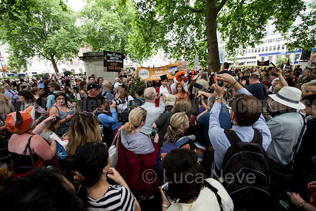 (From L to R) Anneka Svenska (Wildlife campaigner, Conservationist and broadcaster) &amp; Daryna Milgevska (Model and Angels for the Innocent Ambassador).<br /> <br /> London, 29/05/2017. Today, thousands of animal rights protesters and members of the public, lead by &quot;Keep The Ban&quot;, gathered in Cavendish Square to march through Central London against the electoral pledge made by the Conservative Party of Theresa May to offer Parliament a free vote to repeal the ban on fox hunting. The march - claimed to be the largest public protest of the entire General Election campaign - was patrolled by heavy police presence and ended peacefully and loudly outside Downing Street.<br /> <br /> For more information please click here: https://www.facebook.com/events/241667576311495/