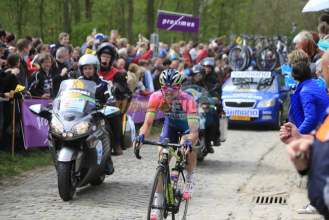 The breakaway group, including Andrea Palini (ITA) Lampre Merida, climb the Molenberg during the 2014 Tour of Flanders, Belgium.<br /> Picture: Eoin Clarke www.newsfile.ie