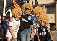 Earthquakes fans with Lenhart's wigs pose together for group photo before the game against Seattle at Buck Shaw Stadium in Santa Clara, California on August 11th, 2012.   Earthquakes defeated Sounders, 2-1.