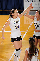 20 November 2008:  FIU outside hitter Isadora Rangel (14) celebrates a winning point with Yarimar Rosa (3) in the FIU 3-1 victory over South Alabama in the first round of the Sun Belt Conference Championship tournament at FIU Stadium in Miami, Florida.