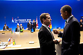 President Barack Obama talks with Russian President Dmitry Medvedev during the G8 Summit in Deauville, France, May 27, 2011. .Mandatory Credit: Pete Souza - White House via CNP