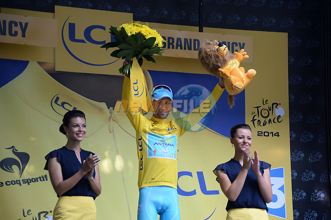 Vincenzo Nibali (ITA) Astana retains the leader's Yellow Jersey at the end of Stage 7 of the 2014 Tour de France running 234.5km from Epernay to Nancy. 11th July 2014.<br /> Photo ASO/X.Bourgois/www.newsfile.ie