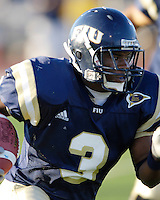 Florida International University Golden Panthers (0-5, 0-2) football versus Arkansas State University Indians (2-2, 1-0) at Miami, Florida on Saturday, September 30, 2006.  The Indians defeated the Golden Panthers 31-6.<br /> <br /> Sophomore running back A'mod Ned (3)