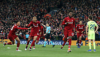 Liverpool's Divock Origi (right) celebrates scoring his side's fourth goal <br /> <br /> Photographer Rich Linley/CameraSport<br /> <br /> UEFA Champions League Semi-Final 2nd Leg - Liverpool v Barcelona - Tuesday May 7th 2019 - Anfield - Liverpool<br />  <br /> World Copyright © 2018 CameraSport. All rights reserved. 43 Linden Ave. Countesthorpe. Leicester. England. LE8 5PG - Tel: +44 (0) 116 277 4147 - admin@camerasport.com - www.camerasport.com