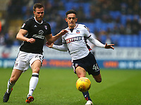 Bolton Wanderers'  Zach Clough  challenged for the ball by TomaS Kalas of Fulham <br /> <br /> Photographer Leila Coker/CameraSport<br /> <br /> The EFL Sky Bet Championship - Bolton Wanderers v Fulham - Saturday 10th February 2018 - Macron Stadium - Bolton<br /> <br /> World Copyright &copy; 2018 CameraSport. All rights reserved. 43 Linden Ave. Countesthorpe. Leicester. England. LE8 5PG - Tel: +44 (0) 116 277 4147 - admin@camerasport.com - www.camerasport.com