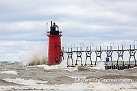 64795-02210 South Haven Lighthouse with high waves crashing South Haven,  MI