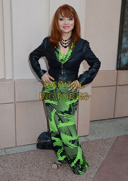 Judy Tenuta.TV Land presents An Evening with Iconic TV Actresses held at Leonard H. Goldenson Theatre, North Hollywood, California, USA..May 10th, 2012.full length green black dress print blazer hands on hips.CAP/ADM/BT.©Birdie Thompson/AdMedia/Capital Pictures.
